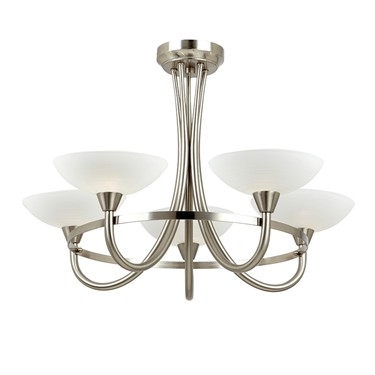 Endon Cagney Semi Flush Ceiling Light - Chrome - 5 Light