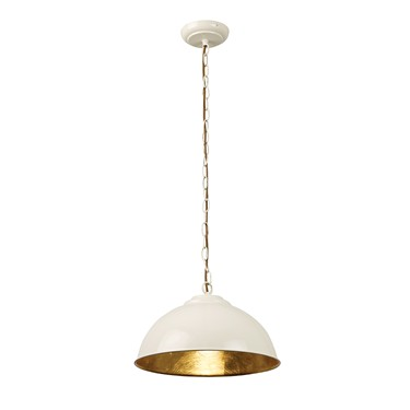 Endon Colman Modern Metal Pendant Light - Gloss Cream