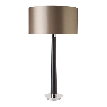 Endon Corvina Table Lamp - Walnut Effect Wood & silver Plating - Mink Shade