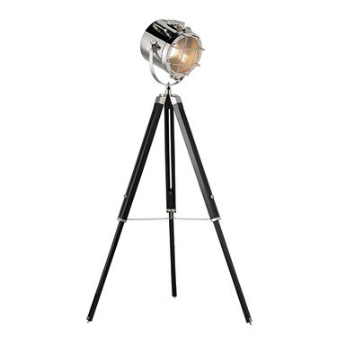Endon Nautical Tripod Floor Lamp - Wood & Steel - Polished Nickel & Matt Black
