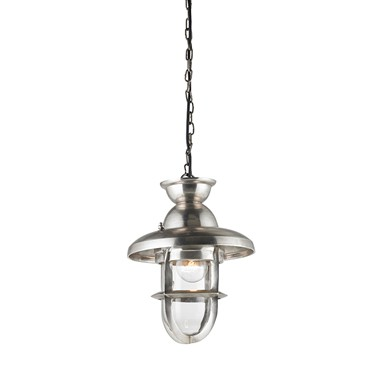 Endon Rowling  Single Pendant Ceiling Light - 245mm - Tarnished Silver