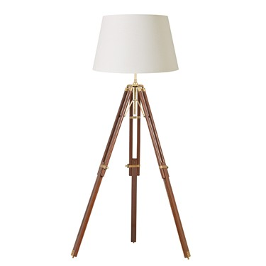 Endon Tripod Wooden Floor Lamp - Base Only - Sheesham Wood