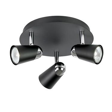 Endon Civic Triple Spotlight - Adjustable - Black & Chrome