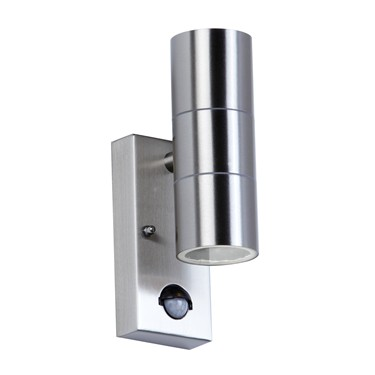 Endon Canon PIR Up & Down Outdoor Wall Light - Polished Stainless Steel - IP44