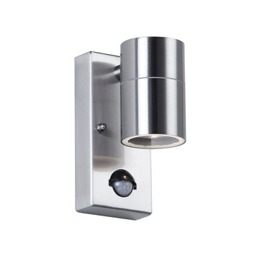 Endon Canon PIR Outdoor Wall Light - Polished Stainless Steel - IP44
