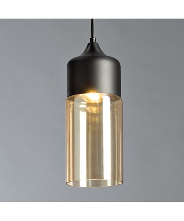 Harmony Matt Black Modern Designer Ceiling Pendant With Clear Glass Shade