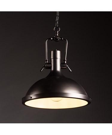 New York Modern Industrial Ceiling Pendant Light - Matt Black - Chain & Cable