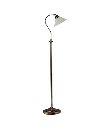 Searchlight Adjustable Floor Lamp - Marble Glass Head - Antique Brass