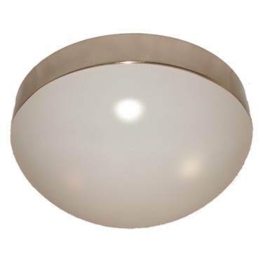 Porto White and Silver Flush Ceiling Light
