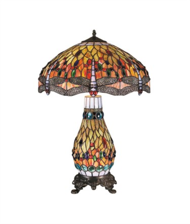 Tiffany Style Large Dragonfly Stained Glass Dual Table Lamp