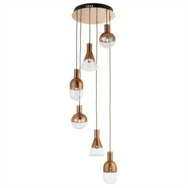 Endon Giamatti Spiral Copper Ceiling Fitting with Beaker Glass Shades - 6 Light
