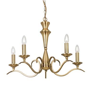 Endon Kora Chandelier Pendant - Antique Brass - 5 Light