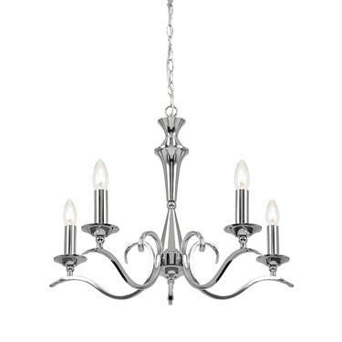 Endon Kora Chandelier Pendant - Chrome - 5 Light