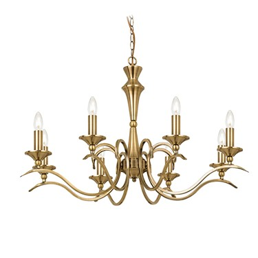 Endon Kora Chandelier Pendant - Antique Brass - 8 Light