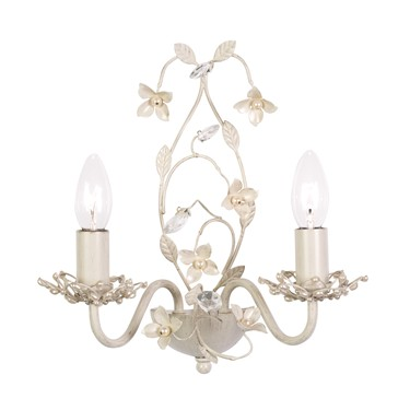 Endon Lullaby Flower Detail Wall Light - 2 Light - Cream & Gold
