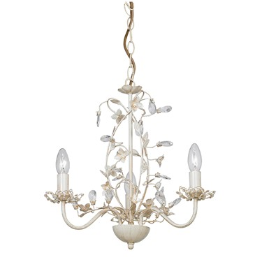 Endon Lullaby Flower Detail Ceiling Light - Cream & Gold - Cream Shade - 3 Light