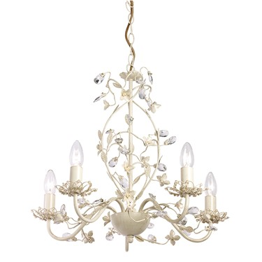 Endon Lullaby Flower Detail Ceiling Light - Cream & Gold - Cream Shade - 5 Light