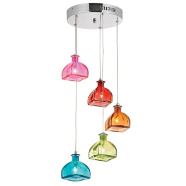 Endon Sarandon Spiral Ceiling Fitting with Multicoloured Bottle Glass - 5 Light
