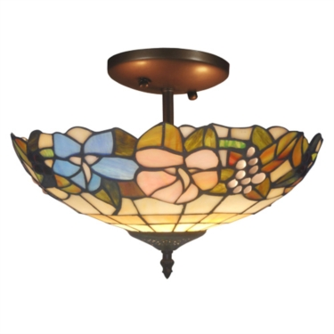 Tiffany Style Lily Ceiling Uplighter Flush Fitting