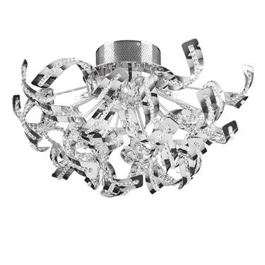 Endon Twist Twisted Chrome Ceiling Light - Chrome & Beaded Detailing - 12 Light