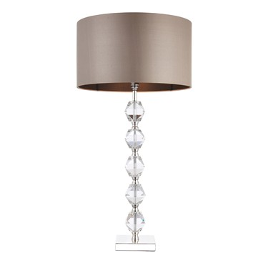 Endon Verdone Modern Table Lamp - Clear Crystal Glass - Taupe Shade