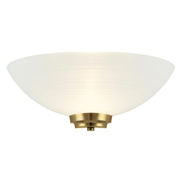 Endon Welles Wall Light -Antique Brass - White Line Painted Glass