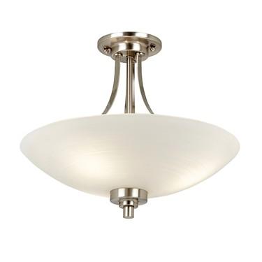 Endon Welles Flush Ceiling Light - Chrome - White Line Painted Glass