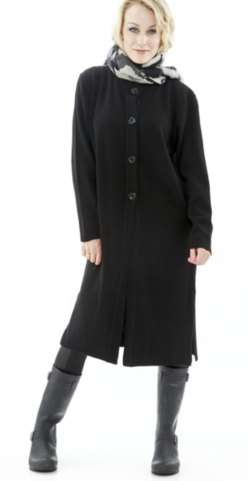 lang sort strik cardigan