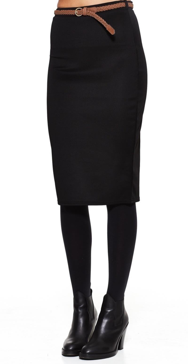 sort knælang nederdel