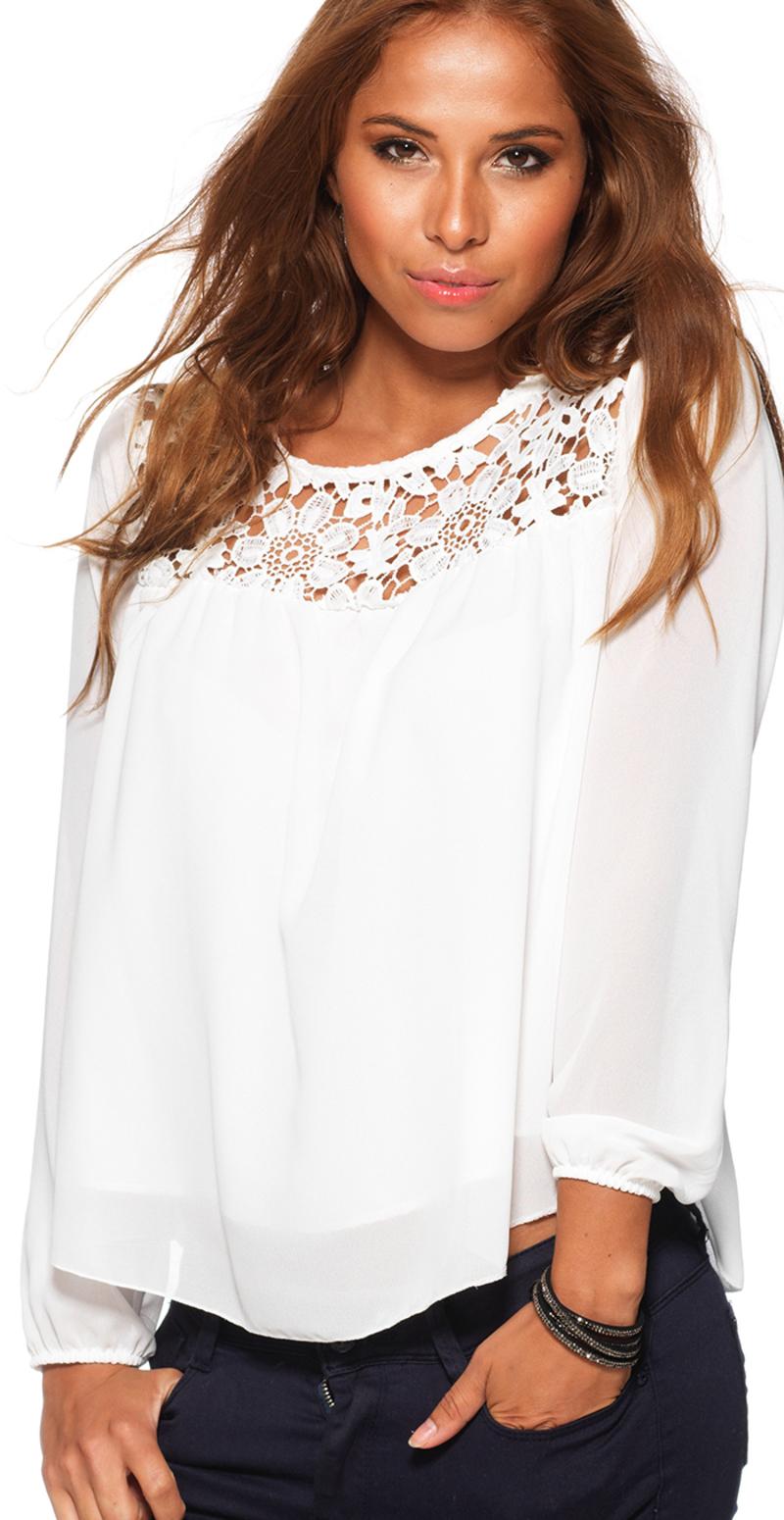 hvid skjorte med blonder