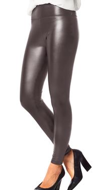 Grey wetlook leggings