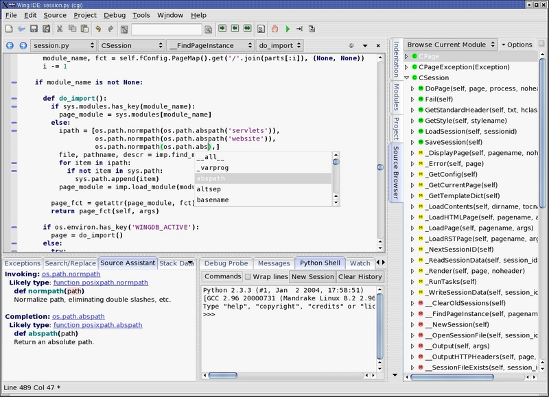Wingware's Python IDE / Linux programming applications
