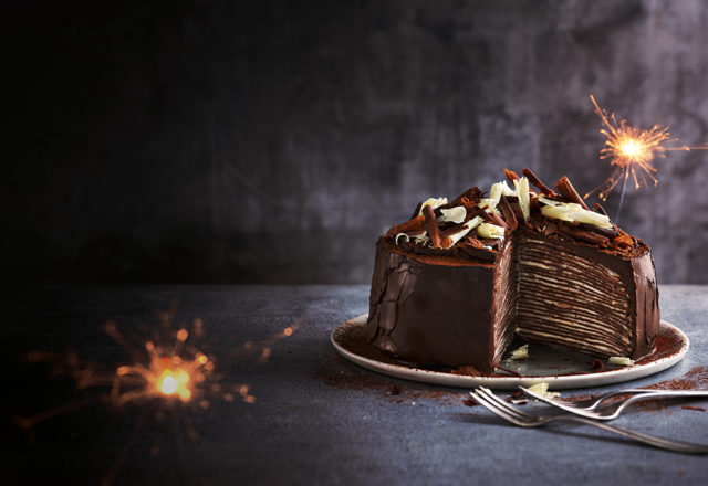 Fairtrade chocolate and banana crêpe cake