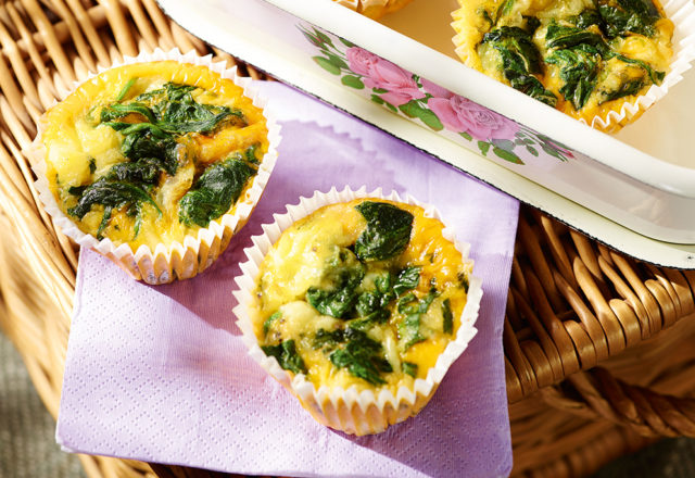 Flourless spinach and egg muffins (V)