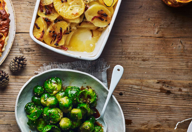 Smoky potatoes and honey coated sprouts