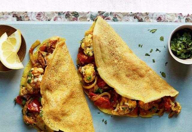 Indian style pancakes with masala veggies (V)