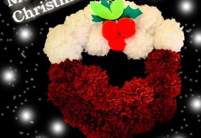 Christmas pudding wreath