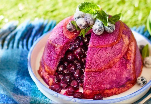 Blueberry brioche summer pudding