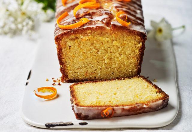 Citrus yogurt cake with gin syrup and orange glaze (V)