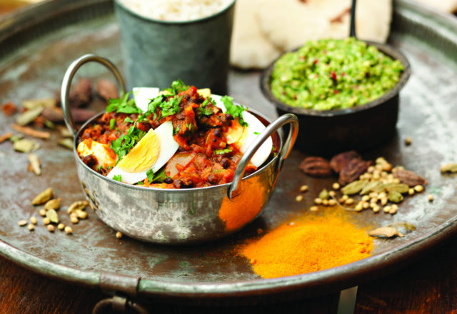 Curried eggs with lentils and fresh coconut and coriander chutney (V)