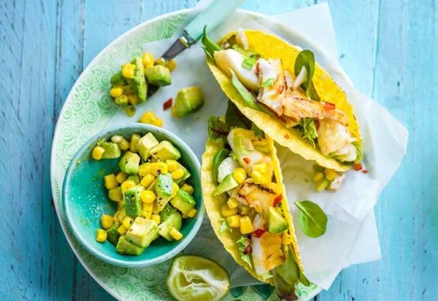 Tasty fish tacos with chilli