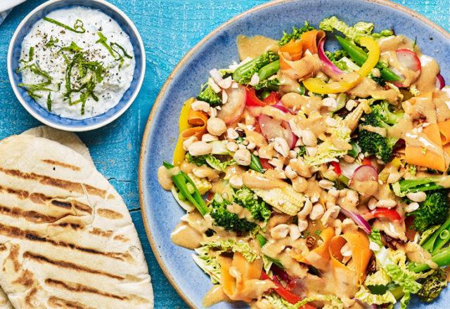 Crunchy rainbow satay stir-fry