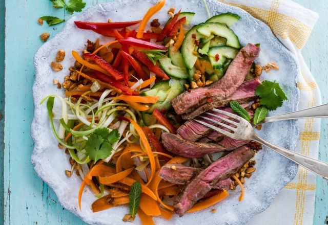 Warm your taste buds with our Thai beef salad