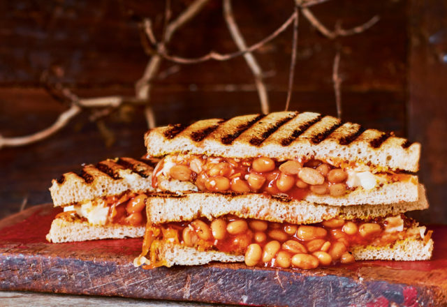 Three cheese and bean toasties