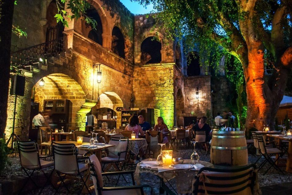 Restaurant in Rhodes Old Town at Night