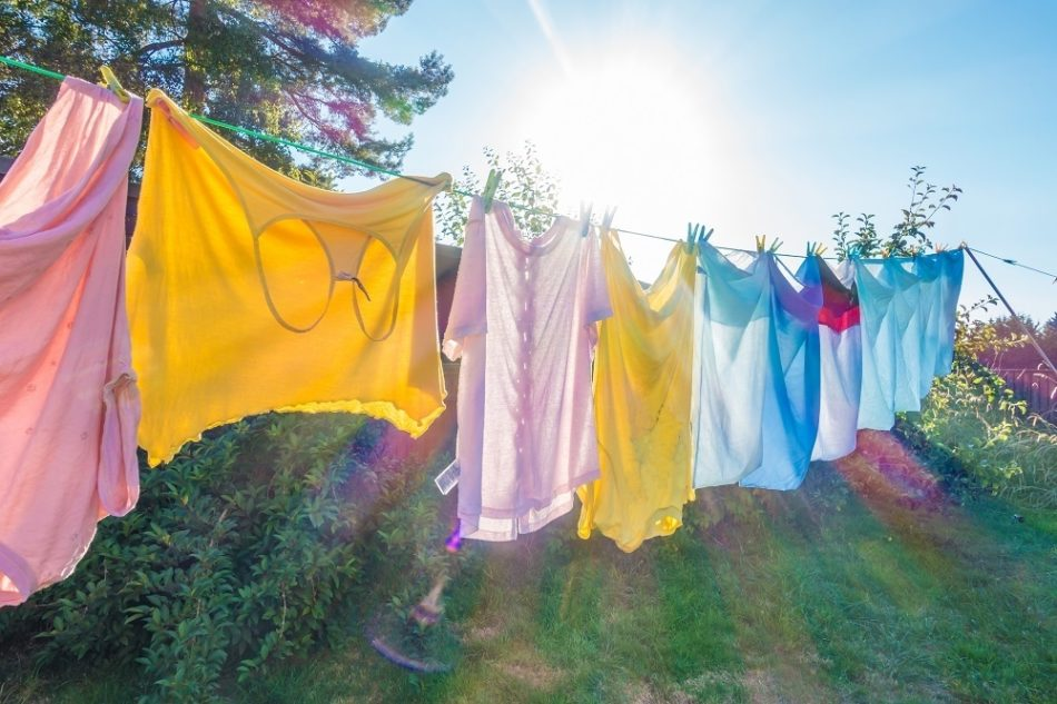clothes hanging on line outside