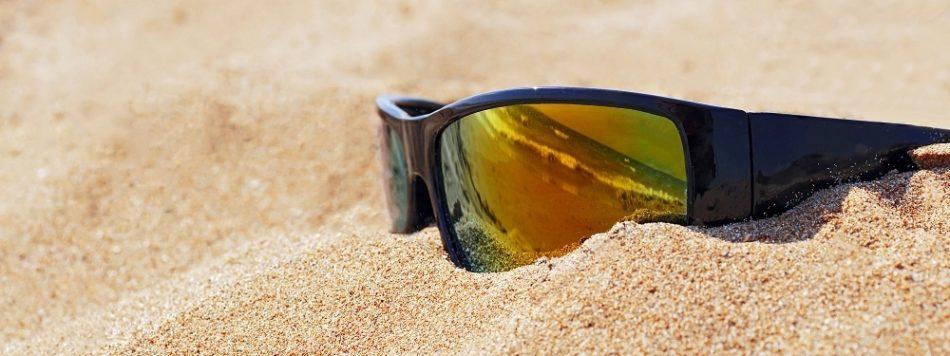 wrap around sun glasses in sand