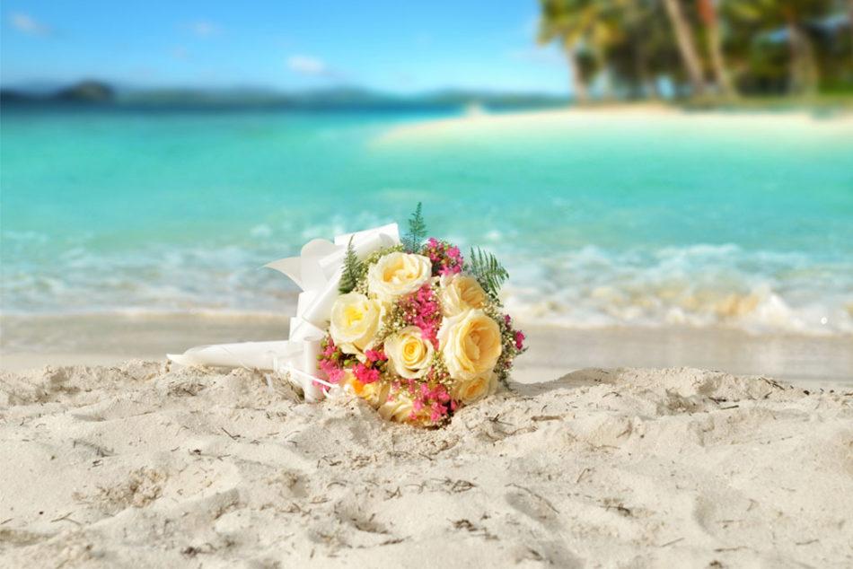Wedding Bouquet On Beach
