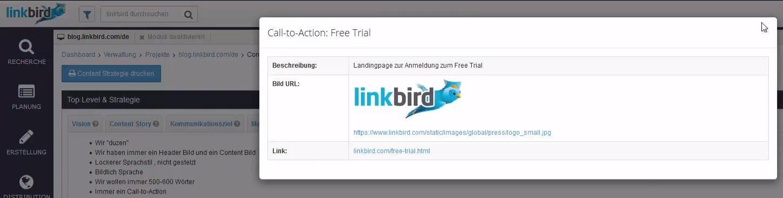 Hinterlege CTA Details in der linkbird Content Strategie