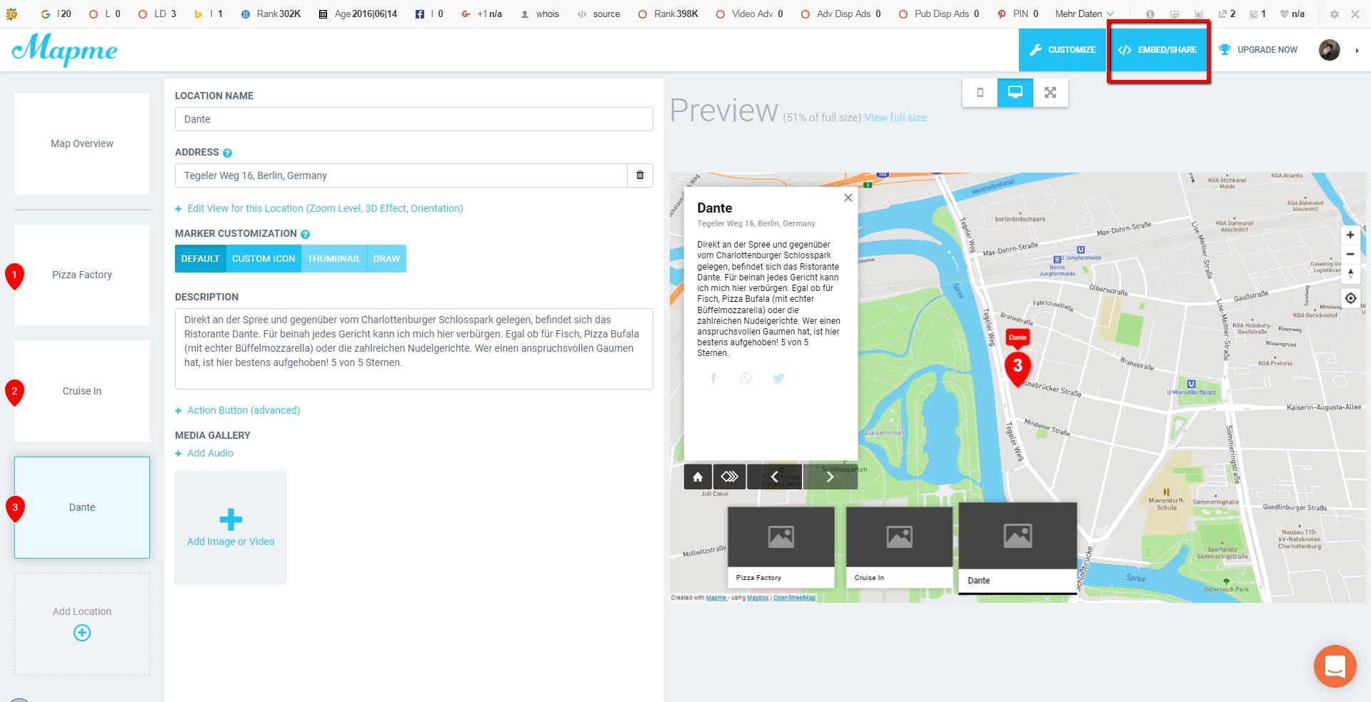mapme Karte verbreiten und teilen